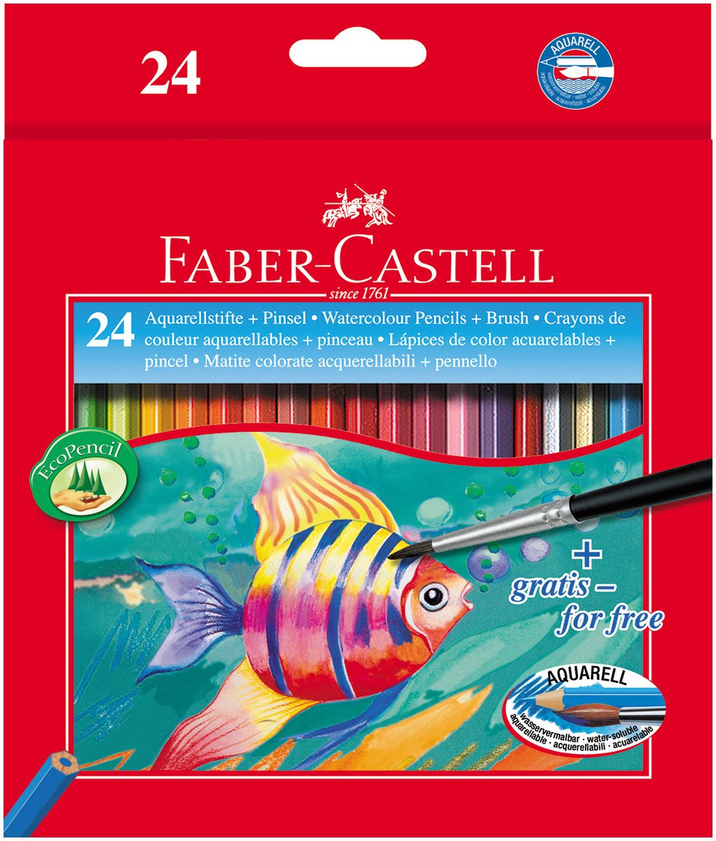 Faber-Castell Aquarelle Watercolour Pencils - Assorted Colours (Pack of 24)