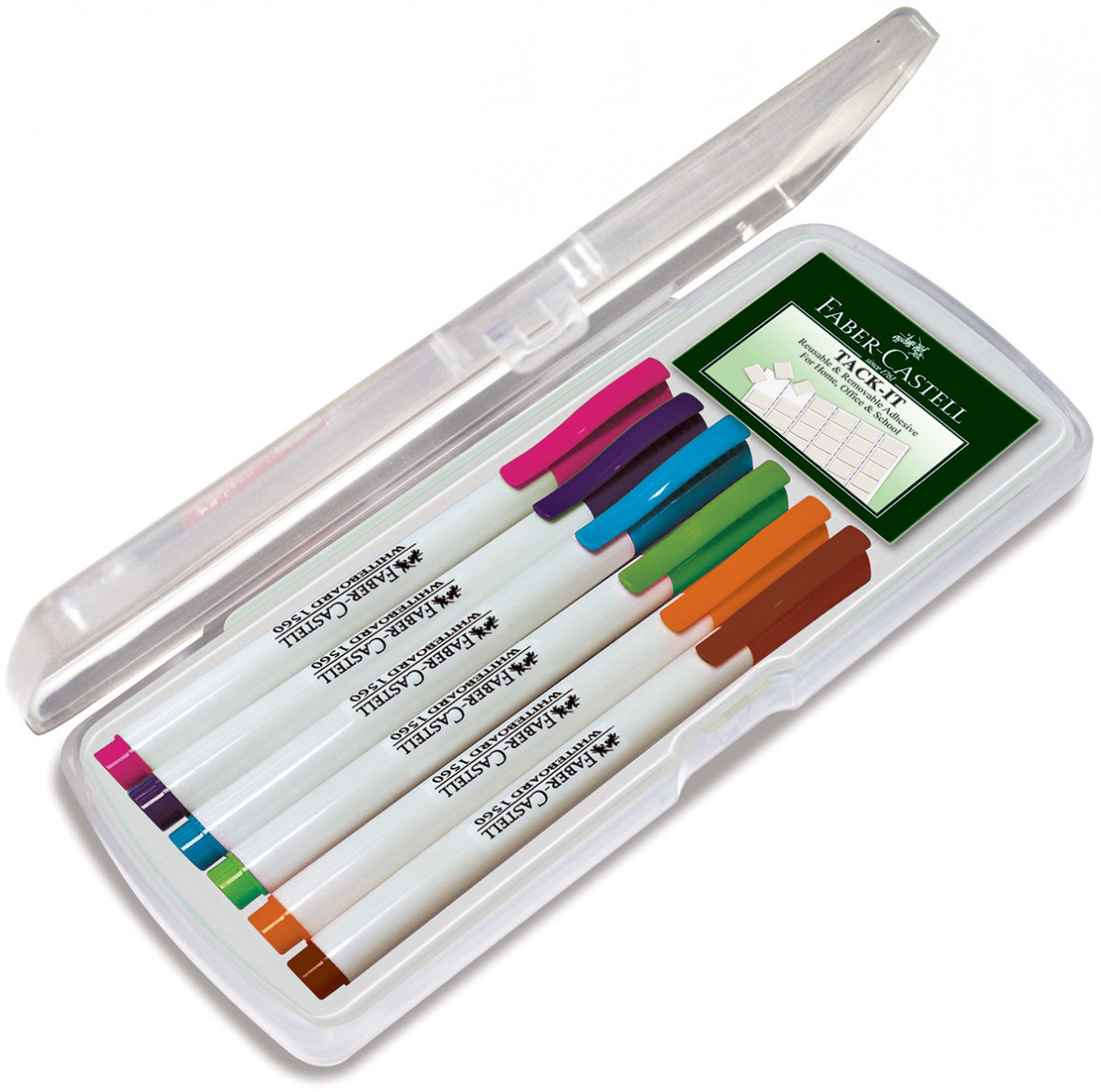 Faber-Castell 1560 Slim Whiteboard Marker - Assorted Fun Colours (Pack of 6)