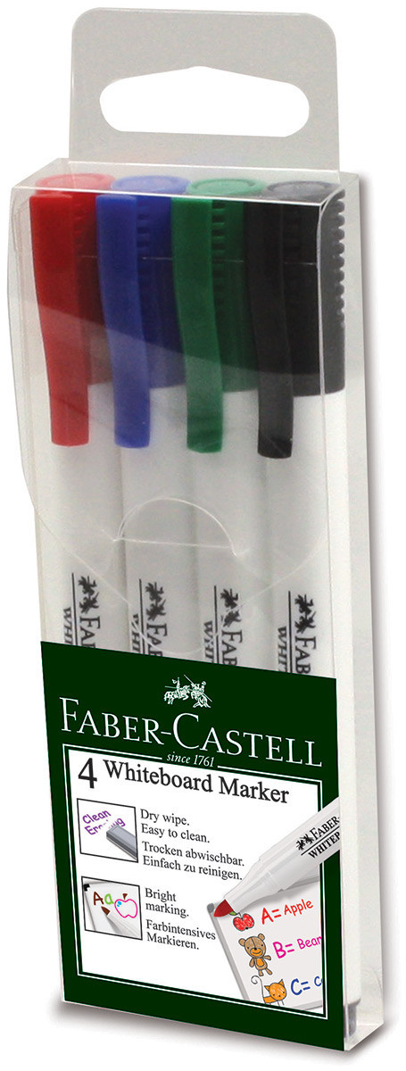 Faber-Castell 1560 Slim Whiteboard Marker - Assorted Office Colours (Wallet of 4)