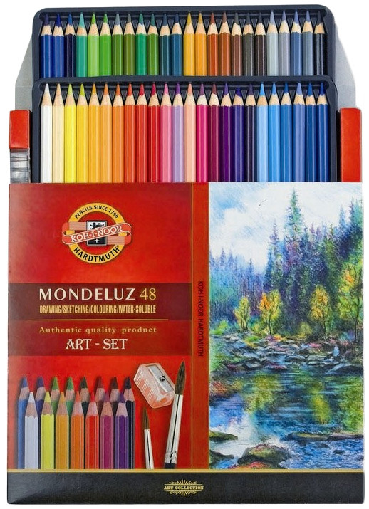 Koh-I-Noor 3713 Aquarell Coloured Pencils - Assorted Colours (Pack of 48)