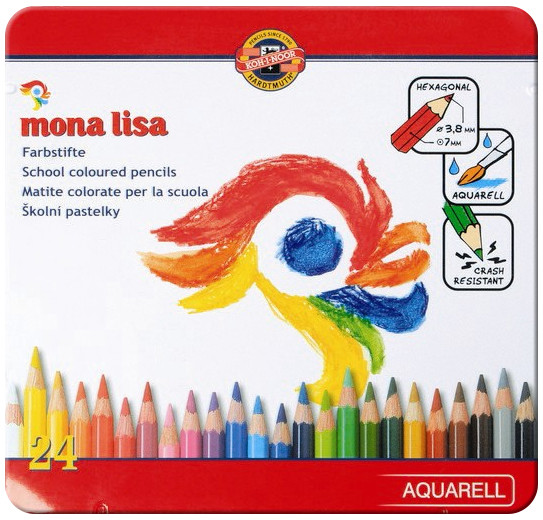 Koh-I-Noor 3714 Mona Lisa Aquarell Coloured Pencils - Assorted Colours (Pack of 24)