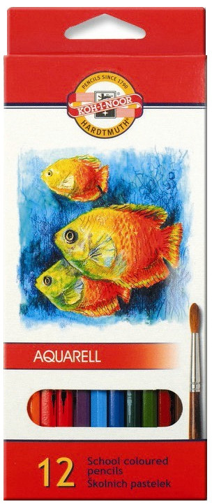 Koh-I-Noor 3716 Aquarell Coloured Pencils - Assorted Fish Colours (Pack of 12)
