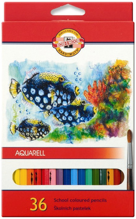 Koh-I-Noor 3719 Aquarell Coloured Pencils - Assorted Fish Colours (Pack of 36)
