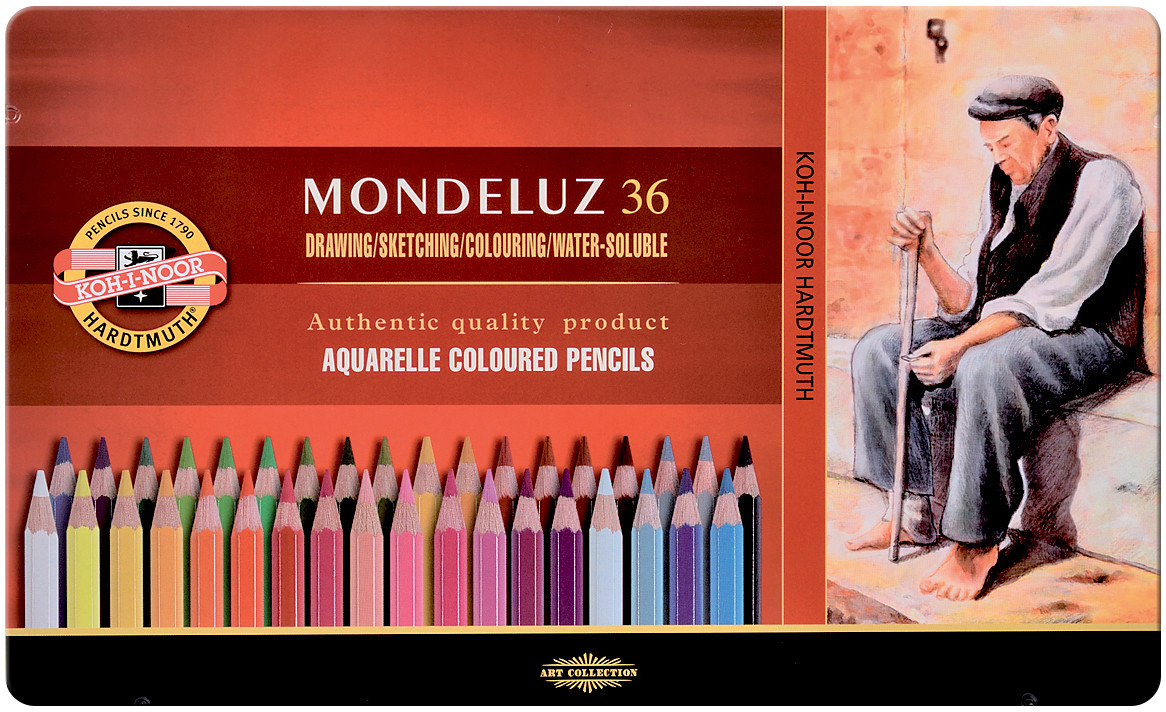 Koh-I-Noor 3725 Aquarell Coloured Pencils - Assorted Colours (Tin of 36)