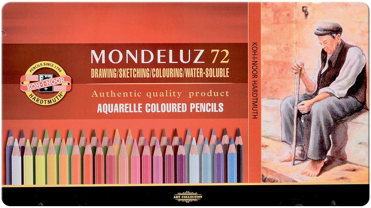 Koh-I-Noor 3727 Aquarell Coloured Pencils - Assorted Colours (Tin of 72)