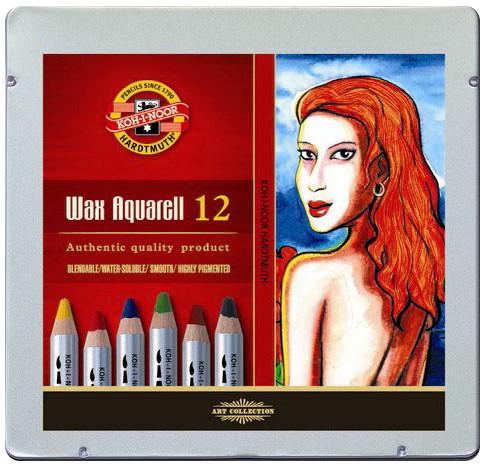 Koh-I-Noor 8282 Wax Aquarell Coloured Pencils - Assorted Colours (Tin of 12)