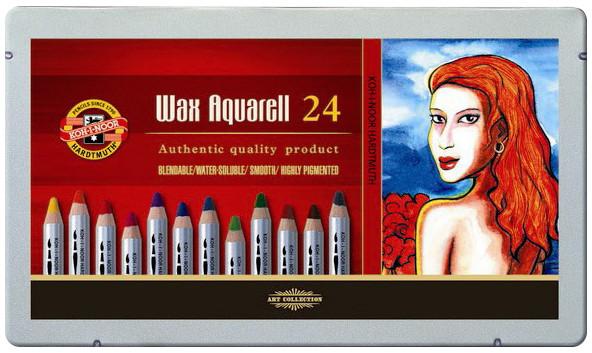 Koh-I-Noor 8284 Wax Aquarell Coloured Pencils - Assorted Colours (Tin of 24)