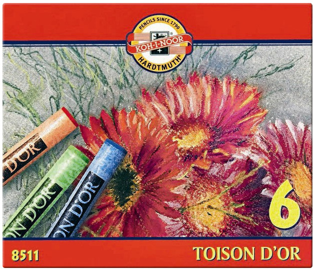 Koh-I-Noor 8511 Artist's Round Dry Chalks - Assorted Colours (Pack of 6)