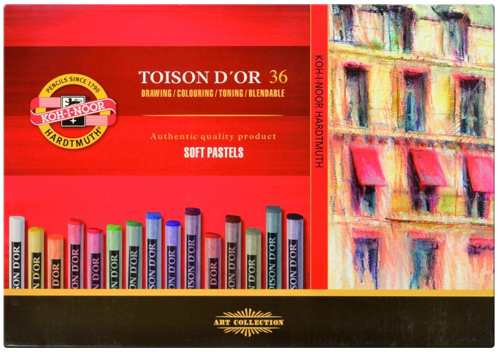 Koh-I-Noor 8515 Artist's Round Dry Chalks - Assorted Colours (Pack of 36)