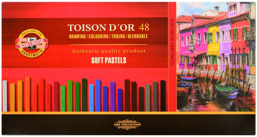 Koh-I-Noor 8586 Artist's Square Dry Chalks - Assorted Colours (Pack of 48)