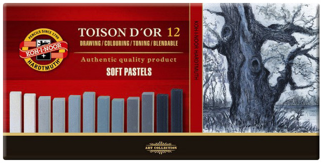 Koh-I-Noor 8592 Artist's Square Dry Chalks - Assorted Grey Colours (Pack of 12)