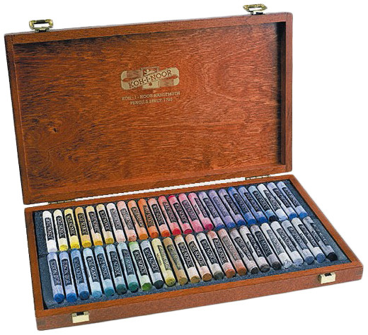 Koh-I-Noor 8596 Artist's Round Dry Chalks - Assorted Colours (Wooden Case of 48)