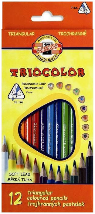 Koh-I-Noor 3132 Triangular Coloured Pencils - Assorted Colours (Pack of 12)