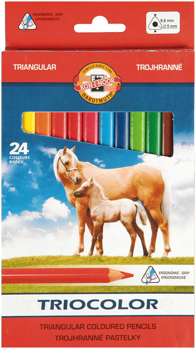 Koh-I-Noor 3144 Jumbo Triangular Coloured Pencils - Assorted Colours (Pack of 24)