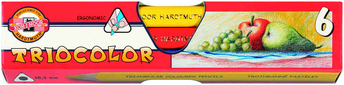 Koh-I-Noor 3151 Jumbo Triangular Coloured Pencils - Assorted Colours (Pack of 6)