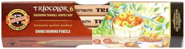 Koh-I-Noor 3151 N Jumbo Triangular Coloured Pencils - Assorted Colours (Pack of 6)