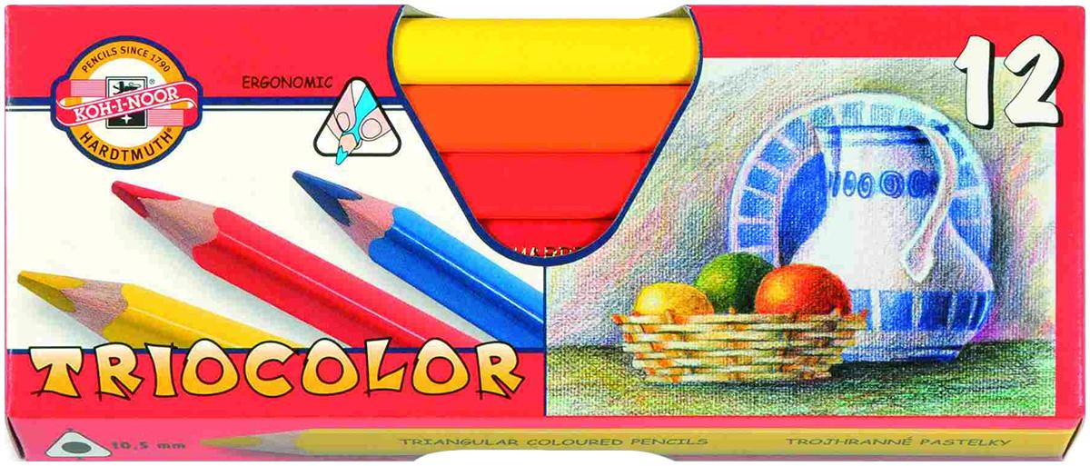 Koh-I-Noor 3152 Jumbo Triangular Coloured Pencils - Assorted Colours (Pack of 12)