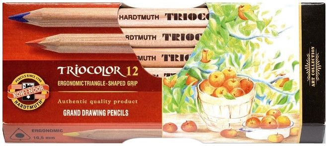 Koh-I-Noor 3152 N Jumbo Triangular Coloured Pencils - Assorted Colours (Pack of 12)