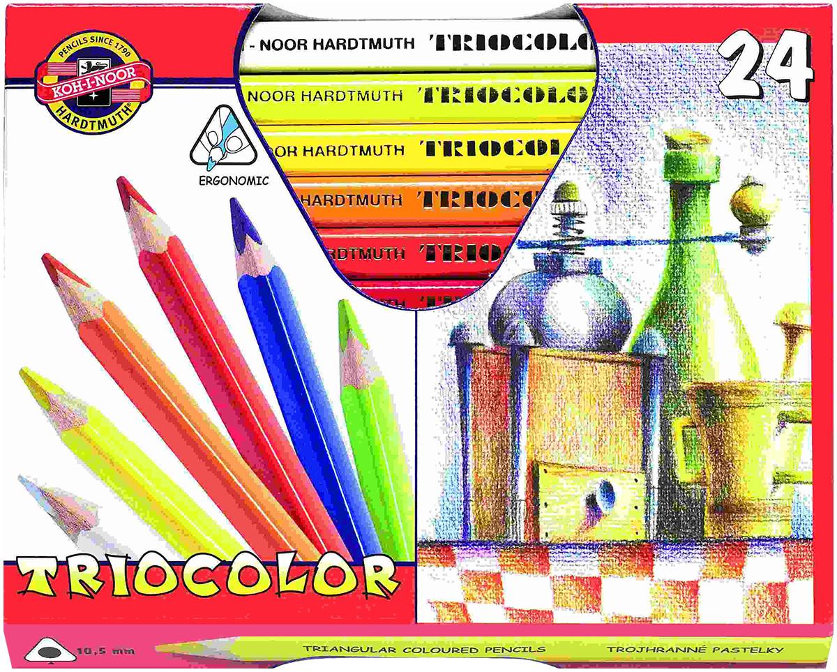 Koh-I-Noor 3154 Jumbo Triangular Coloured Pencils - Assorted Colours (Pack of 24)