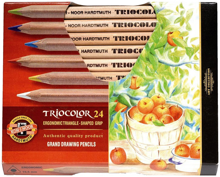 Koh-I-Noor 3154 N Jumbo Triangular Coloured Pencils - Assorted Colours (Pack of 24)