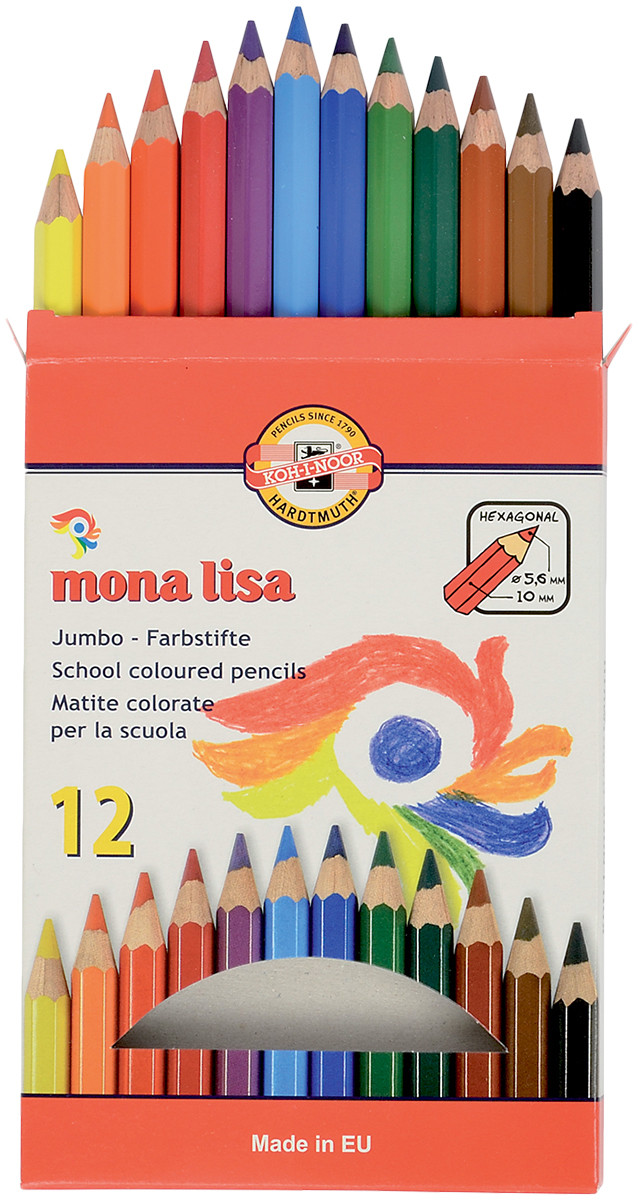 Koh-I-Noor 3372 Mona Lisa Jumbo Coloured Pencils - Assorted Colours (Pack of 12)