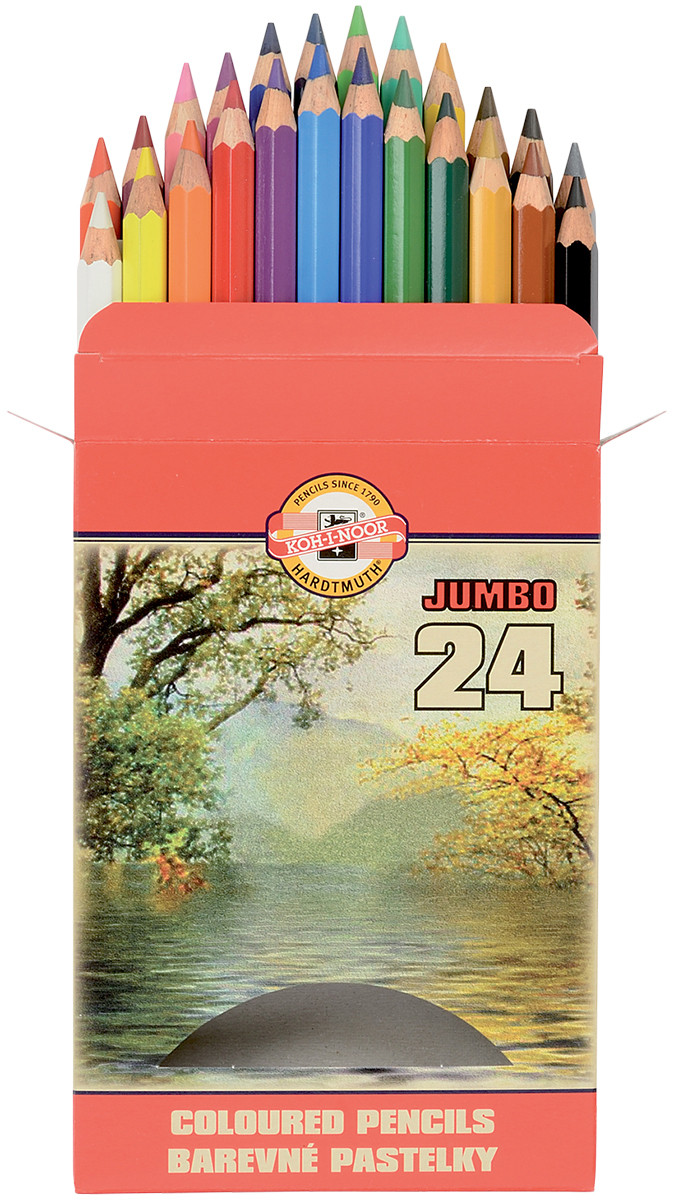 Koh-I-Noor 3374 Jumbo Coloured Pencils - Assorted Colours (Pack of 24)