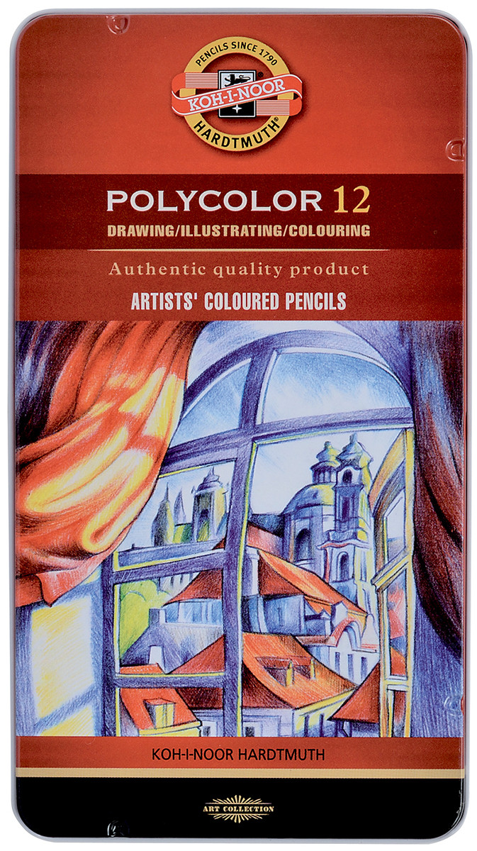 Koh-I-Noor 3822 Coloured Pencils - Assorted Colours (Tin of 12)