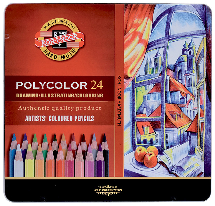 Koh-I-Noor 3824 Coloured Pencils - Assorted Colours (Tin of 24)