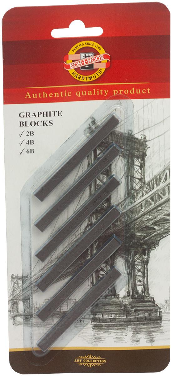 Koh-I-Noor 4390 Graphite Blocks - 7x7 - 2B/4B/6B (Blister of 6)