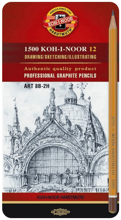 Koh-I-Noor 1502 Graphite Pencils - 8B to 2H (Tin of 12)