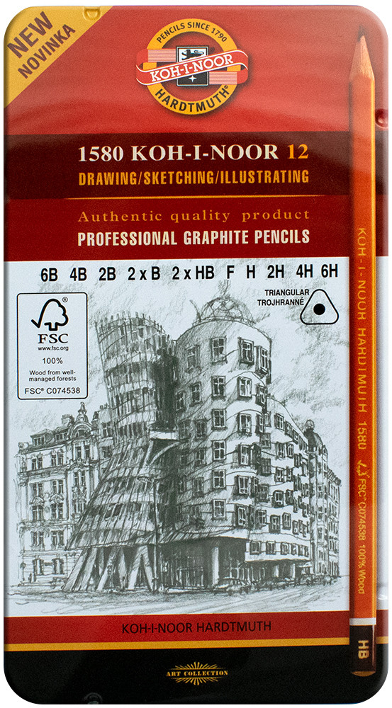 Koh-I-Noor 1582 Triangular Graphite Pencils - 6B to 6H (Tin of 12)
