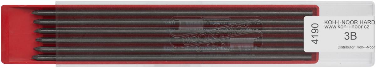 Koh-I-Noor 4190 Graphite Lead 2.5mm x 120mm - 3B (Plastic Case of 6)