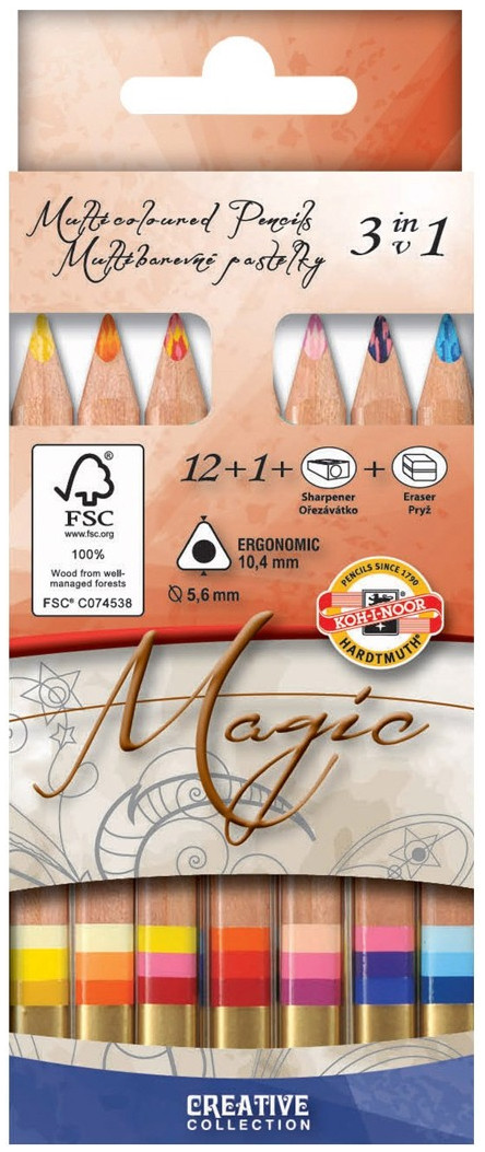 Koh-I-Noor 3404N Jumbo Triangular Magic Coloured Pencils - Assorted Colours (Pack of 13)