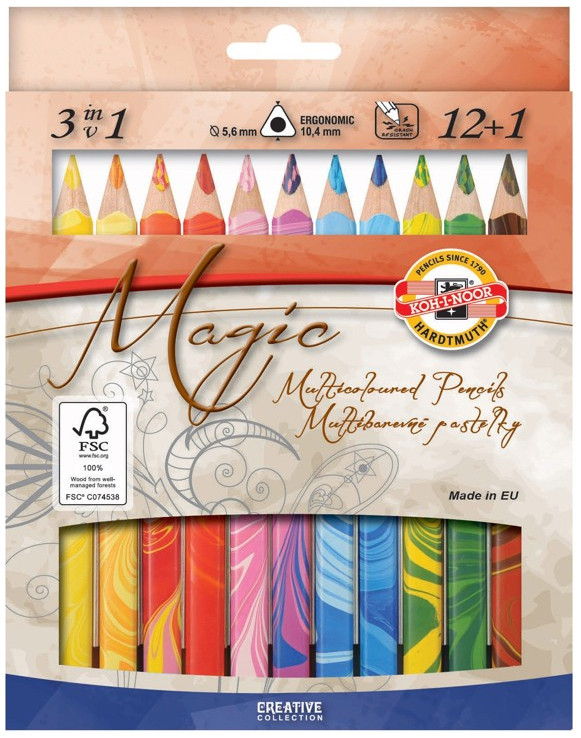 Koh-I-Noor 3408 Jumbo Special Coloured Magic Pencils - Assorted Colours with Blender (Pack of 12)