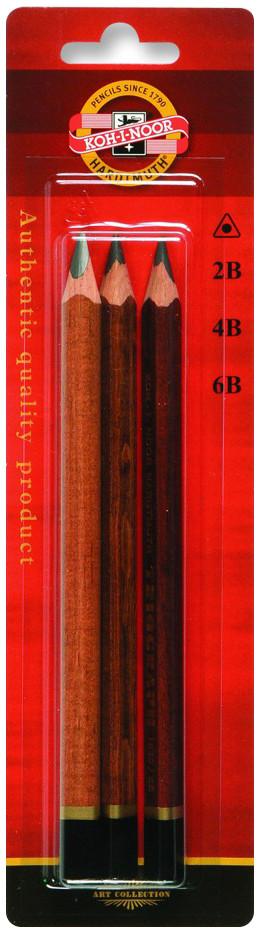 Koh-I-Noor 1833 Jumbo Triangular Graphite Pencils - 2B/4B/6B (Pack of 3)