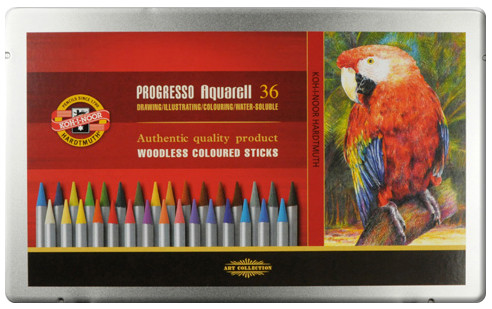 Koh-I-Noor 8785 Woodless Aquarell Coloured Pencils - Assorted Colours (Tin of 36)