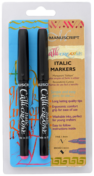 Manuscript Callicreative Calligraphy Marker Pen - Pink (Pack of 2)