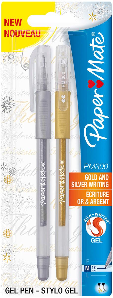 Papermate 300 Capped Gel Pen - Medium - Gold & Silver