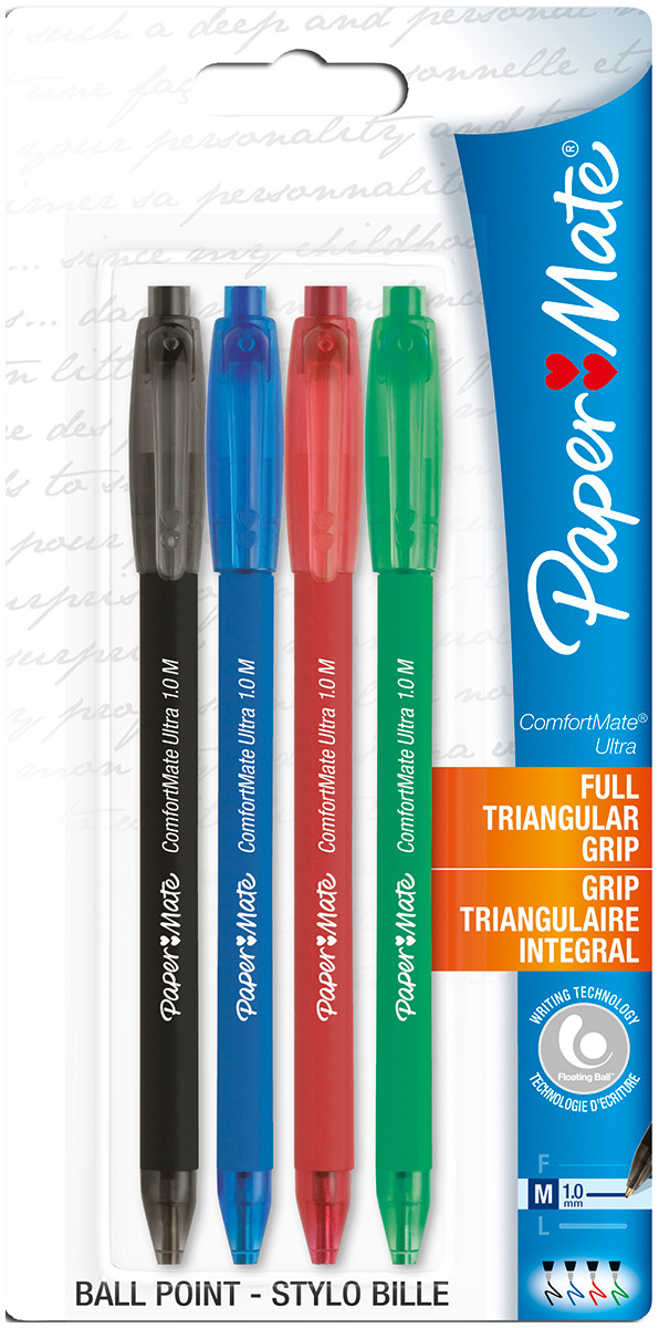 Papermate Comfortmate Ultra Retractable Ballpoint Pen - Assorted Colours (Pack of 4)