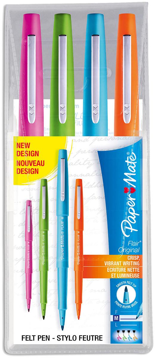 Papermate Flair Original Fibre Tip Pen - Medium - Assorted Colours (Pack of 4)