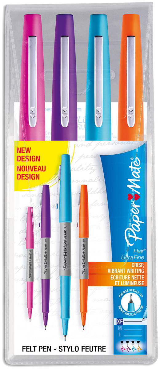 Papermate Flair Ultra Fibre Tip Pen - Ultra Fine - Assorted Colours (Pack of 4)