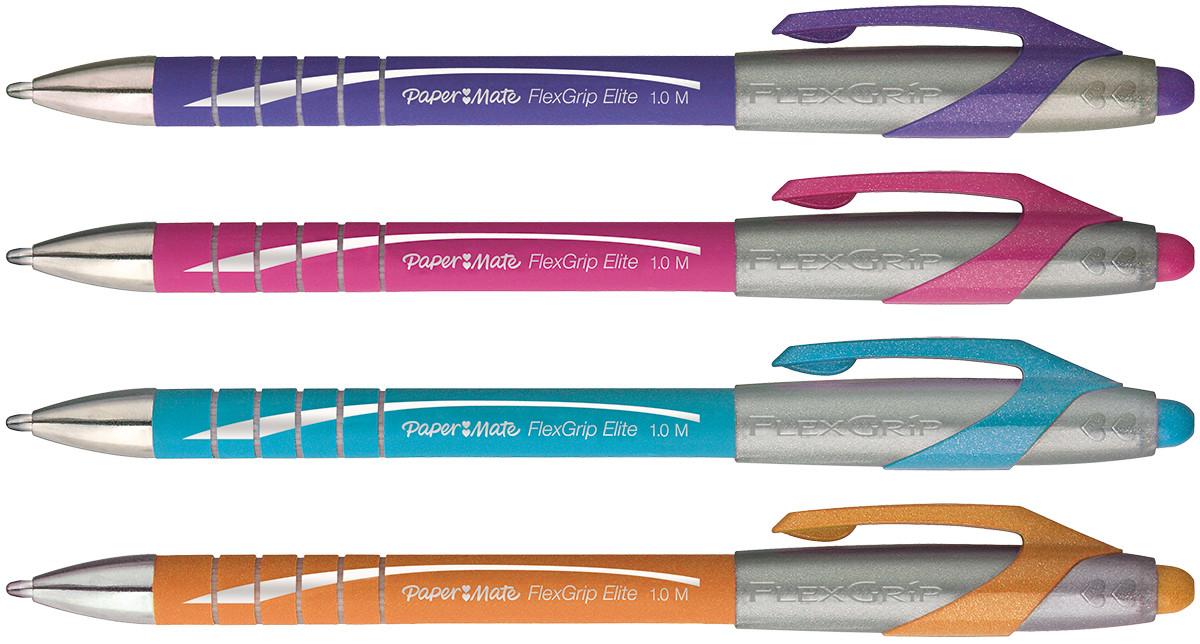 Papermate Flexgrip Elite Ballpoint Pen - Medium - Assorted Colours (Pack of 4)