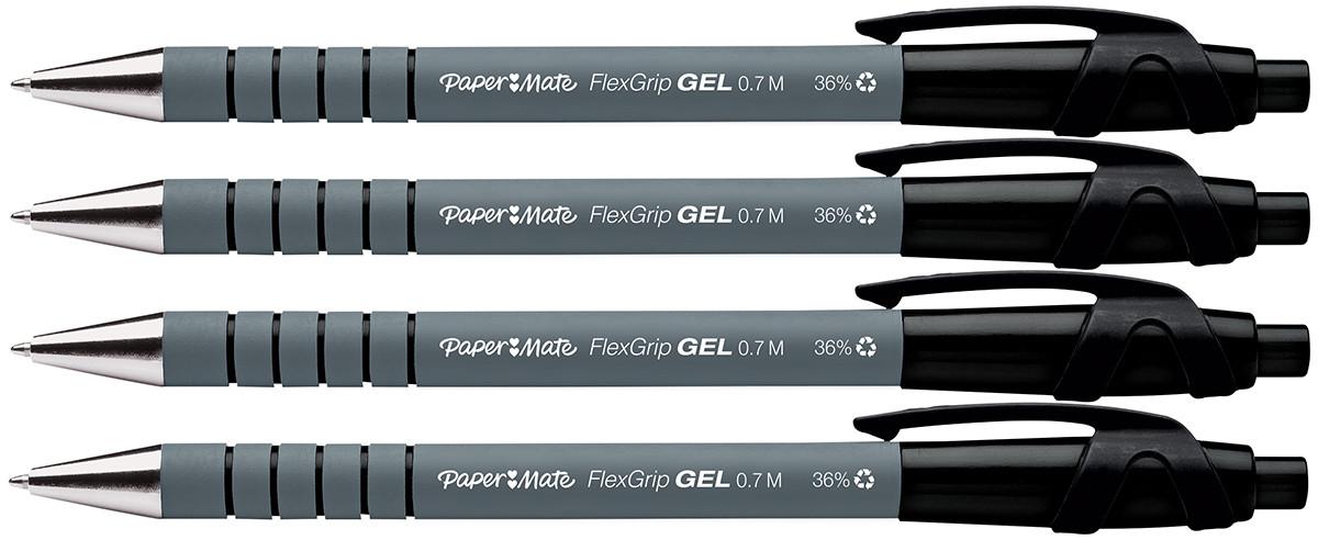 Papermate Flexgrip Gel Retractable Ballpoint Pen - Medium - Black (Pack of 4)