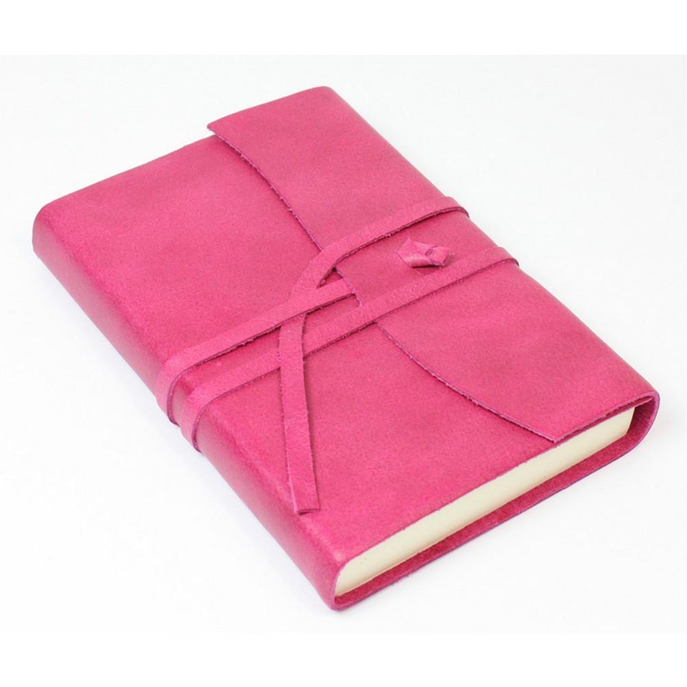 Papuro Amalfi Leather Journal - Raspberry - Small