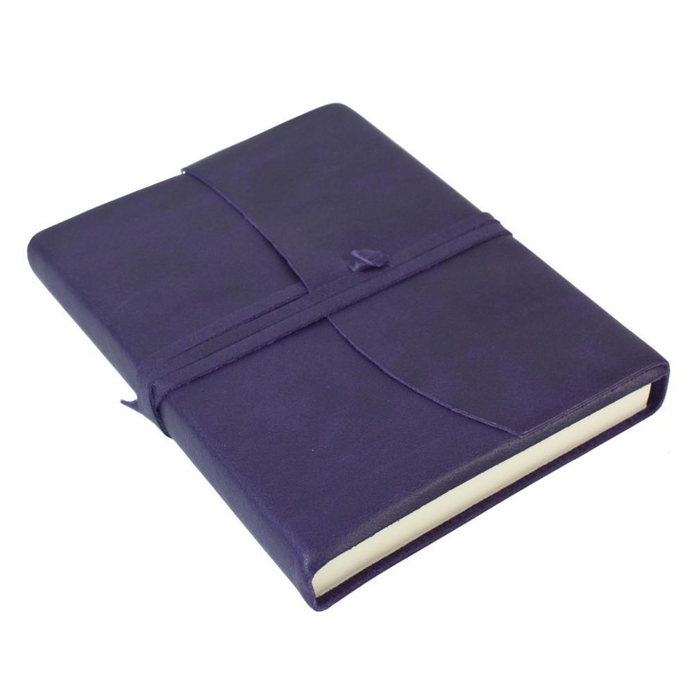 Papuro Amalfi Leather Journal - Aubergine - Medium