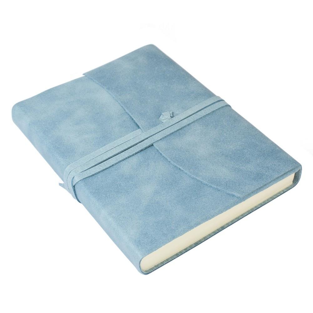 Papuro Amalfi Leather Journal - Blue - Medium