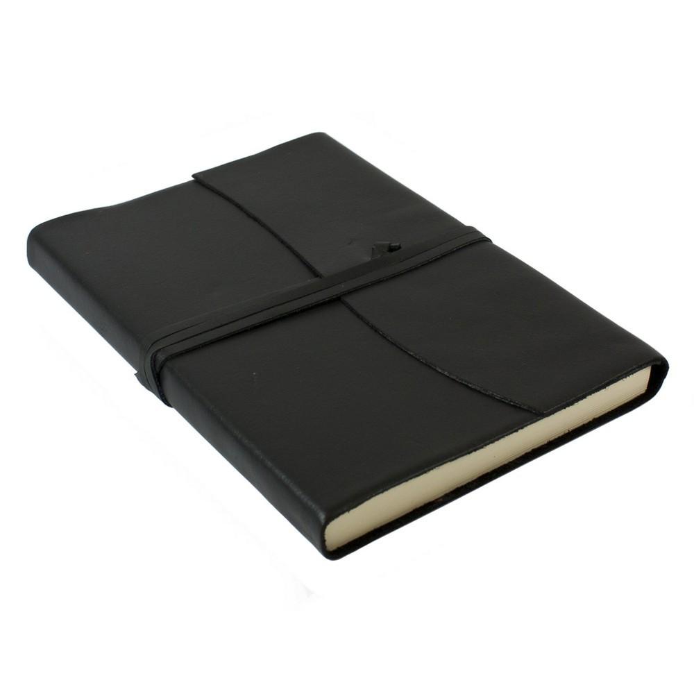 Papuro Amalfi Leather Journal - Black - Large