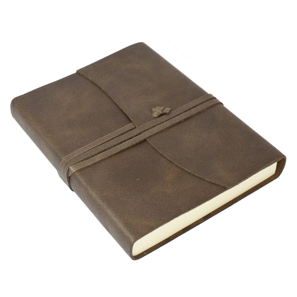 Papuro Amalfi Leather Journal - Chocolate - Medium