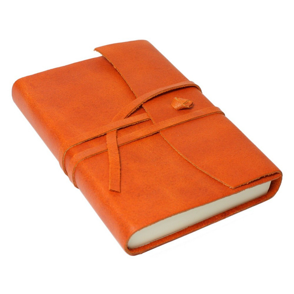 Papuro Amalfi Leather Journal - Orange - Small