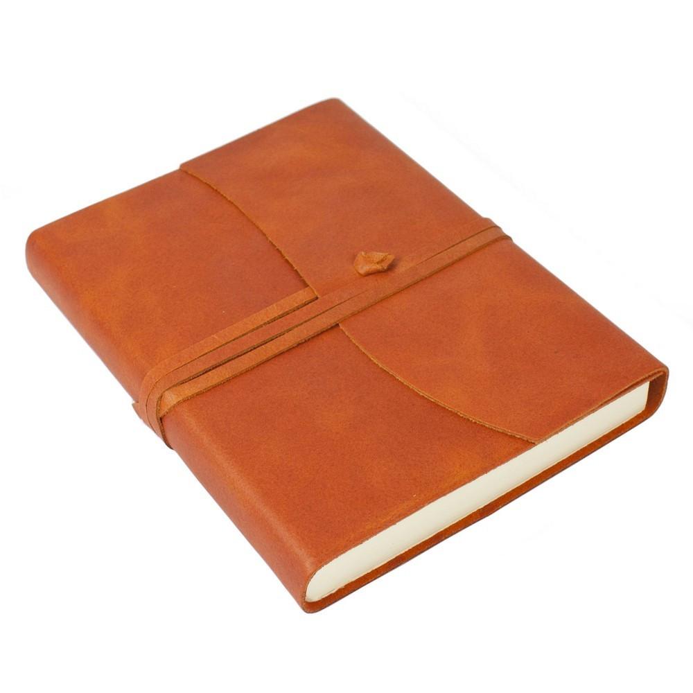 Papuro Amalfi Leather Journal - Orange - Medium